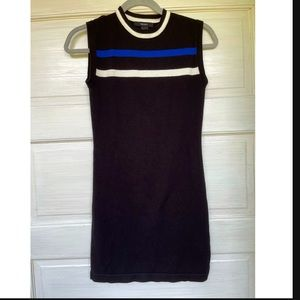 Forever 21 black striped color block bodycon dress